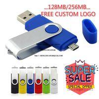 2021 도매 OTG USB 플래시 드라이브 256MB 컬러 로타리 펜 드라이브 메모리 스틱 무료 사용자 정의 로고 멀티 컬러 USB Pendrive 소형 메모리 128MB