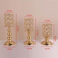 Candle Holders Crystals Metal Golden Wedding Candelabra Centerpiece Home Table Decoration Sun Flower Pattern Candlesticks