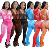 Donne di velluto tuta sportiva Solido solido 2 abiti a due pezzi Abiti rosa Pantaloni in velluto rosa e felpa con cappuccio Set Zipper Pocket Giacca a maniche lunghe + Campana Wid Leg Pant