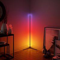 현대 LED 모서리 RGB 바닥 램프 침실 침대 옆, 거실 분위기 다채로운 홈 장식 실내 조명 서 램프