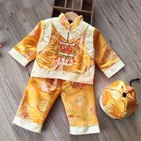2021 3PCS Festival chinois Vêtements traditionnels pour bébé garçon fille enfants nouvel an kung fu Uniforme ensemble Hanfu Dragon broderie Tang costume S1RE