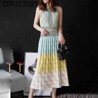 tdvictory 고품질 여름 여성 민소매 기하학 니트 긴 드레스 슬림 휴일 pleated 드레스 Vestidos 210602
