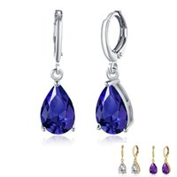 Dangle & Chandelier ZEMIOR Water Drop Romantic Earrings For Women Clean Cubic Zirconia 3 Color Earring Anniversary Fashion Jewelry Recommend