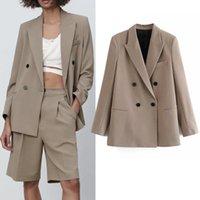 PSEEWE 2021 KHAKI Kruvaze Blazer Kadın Moda Ofis Rahat Bahar Ceket Kadınlar Cep Uzun Kollu Kadın Ceket