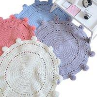 Carpets Round Crochet Carpet Handmade Woven Wool Blanket Knitted Bedroom Kids Room Balls Tassel Rugs For Baby Girls Decor