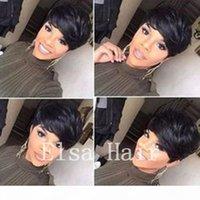 أعلى جودة قصيرة بيكسل البرازيلي مستقيم الشعر البشري العكس قطع الباروكات غلوسيس لا شيء الدانتيل الجبهة قطع شعر مستعار للنساء السود