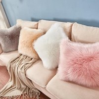 Cushion Decorative Pillow Ecorative Fluffy Covers Luxury Series Merino Style Faux Fur Throw Fuzzy Cushion Cover  Christmas Gift