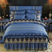 Bedding Sets Princess Set Luxury Quilted Cotton Thick Warm Bed Blue Lace Duvet Cover Skirt Sheet Pillowcases Size Queen King