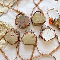 Diseñador Chicas Shell Handbag 2021 Niños Dibujos animados Impreso Messenger Bags Niños Fresa Circular Circular Single Bags A4843