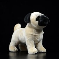 Original Pug Dog Yellow Soft Stuffed Plush Toys Cute Children Kids Gift Realistic Lifelike Animals Dolls Canis lupus familiaris Q0113