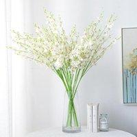 5 forcella fiore artificiale giallo danza orchidea per matrimonio decorazione della casa phalaenopsis bouquet decorazione floreale di seta natale DWD5256
