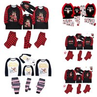 3sets Party Supples Matching Family Christmas Pajamas Red Buffalo Plaid Xmas Holiday Sleepwear Clothes Long Sleeve PJs Sets HH21-723