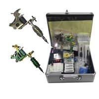 أكمل الوشم كيت 2PCS آلة لفائف آلة إمدادات الطاقة نصائح القبضات مع القضية أداة المعدات المحمولة للفنانين