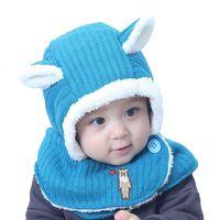 Inverno bebê menina meninos chapéu cachecol crianças malha cachecol com capuz bebê orelha orelha orelha beanie earflap tampão cachecves de circulais mz7034