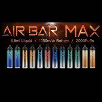Air Bar Max Lux Dispositivo descartável Built-in 6,5ml 1250mAh Bateria Vape Epmty Pods 2000Puffs Vape Pen Starter Kit vs Fume Extra Plus