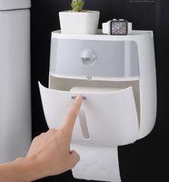 Tenedor de papel higiénico impermeable Toallas de Papel Plástico Topes de Toallas Montado en pared Caja de almacenamiento de estantes portátil Tapa de rollo de inodoro portátil