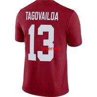 Barato Tua carmesim do alabama feito sob encomenda Tuavailoa # 13 Men's Crimson NCAA Jersey Stitched Homens Mulheres Jersey Jersey XS-5XL