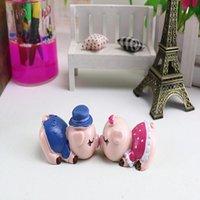 Innendekorationen Kreative 2 stücke Harz Schweine Miniatur Ornamente Paar Figur Handwerk Auto Tier Figuren
