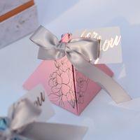 Üçgen Piramit Şeker Kutusu Düğün Iyilik Ve Hediye Kutusu Kağıt Kutusu Ambalaj Düğün Dekorasyon Için Bebek Duş Parti Malzemeleri