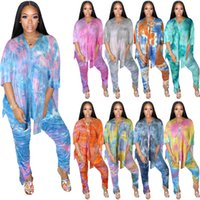Women plus size Tracksuits summer clothing tie dye sexy & club t-shirt pants sportswear v-neck loose tee top leggings outfits short sleeve bodysuits fitness gym 01288