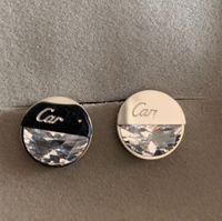 남성 여성 고품질 패션 웨딩 316L 티타늄 스틸 18K 실버 로즈 골드 대형 다이아몬드 편지 스터드 귀걸이 레이디 생일 선물