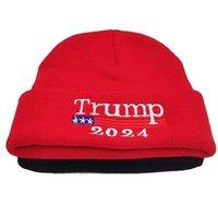 ترامب 2024 قبعة بينيز الانتخابات الرئاسية محبوك صوف قبعات ترامب رسائل محبوك القبعات الشتاء بيني الجمجمة كاب للرجال النساء G3302