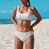 Katı Renk Seksi Bikini 2021 Mujer İki Parçalı Mayo Mayo Kadın Biquini Setleri Örme Konu Jakarlı Üçgen Mayo Q0120