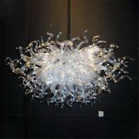Lâmpadas de cristal de cristal de vidro à mão lâmpadas de pingente de arte branco w80x60cm iluminação interior moderna sala de estar decoração