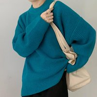 Frauenpullover AIBEAuty Casual O-Neck Warme gestrickte Jumper für Frauen Damen Strickwaren TopsLong Sleeve Lose weibliche feste Pullover