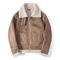 Men's Jackets Mens Sherpa Wool Coat Lamb Velvet Fur Male Suede Parka In Autumn Winter 2021 Coats Vintage Bomber Jacket