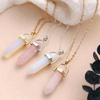 Pendant Necklaces Fashion Natural Stone Pink Crystal Necklace For Women Jewelry Hexagonal Column Quartz Pendants