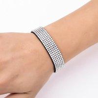 Tennis Shining Crystal Leather Bracelet Bangle For Women Man Cuff Wristband Magnetic Clasp Wide Velvet Bracelets Fashion Jewelry