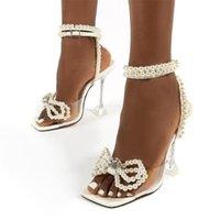 Sandalet Zarif Düğün Gelin Ayakkabı Kadın Moda İnciler Papyon Yaz Kare Toe PVC Şeffaf Kristal Topuklu Bırak Gemi