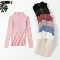 Suéteres para mujer Ranmo Half Turtleneck Pullovers Suéter de punto Invierno Manga larga Zipper Jumper Ropa coreana Tops femeninas