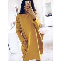 Повседневные платья ГУМПРУН 2021 Женщины осень зимнее платье на шеи с длинным рукавом свободные негабаритные карманы