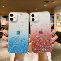 Temizle Glitter Telefon Kılıfları iPhone 13 12 Mini 11 Pro XS Max XR X 7 8 Artı SE Degrade Gökkuşağı Coque