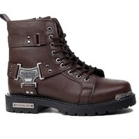 Men's winter boot biker Black Motorcycle Boots Metal Decor men's shoes Ankle High Quality Work 211023
