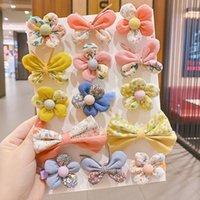 Hair Accessories 2Pcs Lot Korean Kawaii Baby Butterfly Floral Hairpins Cute Little Girl Bowtie Flower Cotton Bows Clip Kids