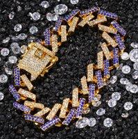 La dernière chaîne cubaine de haute qualité 15 mm micro-incrusté de la bande zircon bracelet bracelet hip hop fashion bijoux en gros