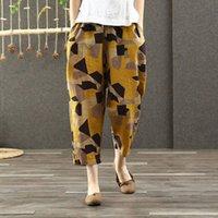 Kadın Pantolon Capris Fje İlkbahar Yaz Kadın Artı Boyutu Elastik Bel Geometrik Pamuk Keten Harem Vintage Baskı Gevşek Geniş Bacak D44