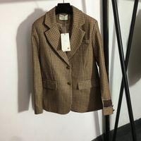 Retro Plaid Women Suits Coats INS Fashion Lapel Neck Blazers Winter Fall Street Style Lady Formal Coat