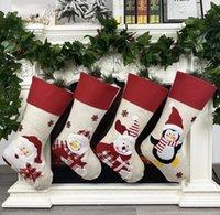 Christmas Stocking Non-woven fabric Old man snowman elk penguin Creative Santa Gift Bag Candy Dcoration SN5530