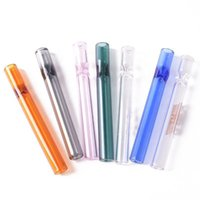 Tobacco Pyrex Glass Oil Burner Pipe Burning Smoking Cigarette Holder Hand 4Inch Fittings 10cm Straight Transparent Colorful Heat Resistant Herb Tube Pipes DHL Free