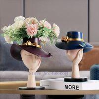 Vases Creativity Resin Vase Flower Pot Abstract Character Hat Human Head Arrangement Modern Home Decoration