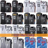 "Brooklyn ""Net"" Yellow James 13 Harden Kyrie Mens 11 Irving 2021 Kevin Novo 7 Durant Basketball Jersey 72 Biggie Roxo 32143"