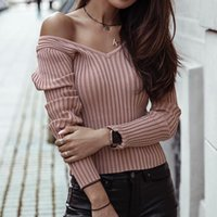 Women's T-Shirt Autumn Winter Woman Knitted Tops Sexy V-Neck Solid Slim Basic Pullover For Ladies Black Pink White 3 Color Long Sleeve Cloth