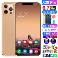 2021 الهاتف الذكي الأصلي الهاتف المحمول X30PRO 6.7 بوصة 10 كور 5800MAH فتح الإصدار العالمي 4 جرام 5 جرام أندرويد 10.0 24MP + 48MP 12GB + 512GB CELLARYES الهاتف المحمول الهاتف الذكي