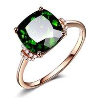 18k rose banhado a ouro anel esmeralda para mulher pedras preciosas qua de cristal verde