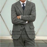 Men's Suits & Blazers Vintage Herringbone Tweed Mens Slim Fit Winter Male Formal Business Blazer 3 Pieces Jacket Vest Pants Set Costume Homm
