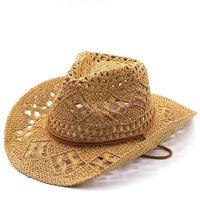 Wide Brim Hats Fashion Hollowed Handmade Cowboy Straw Hat Women Men Summer Outdoor Travel Beach Unisex Solid Western Sunshade Cap